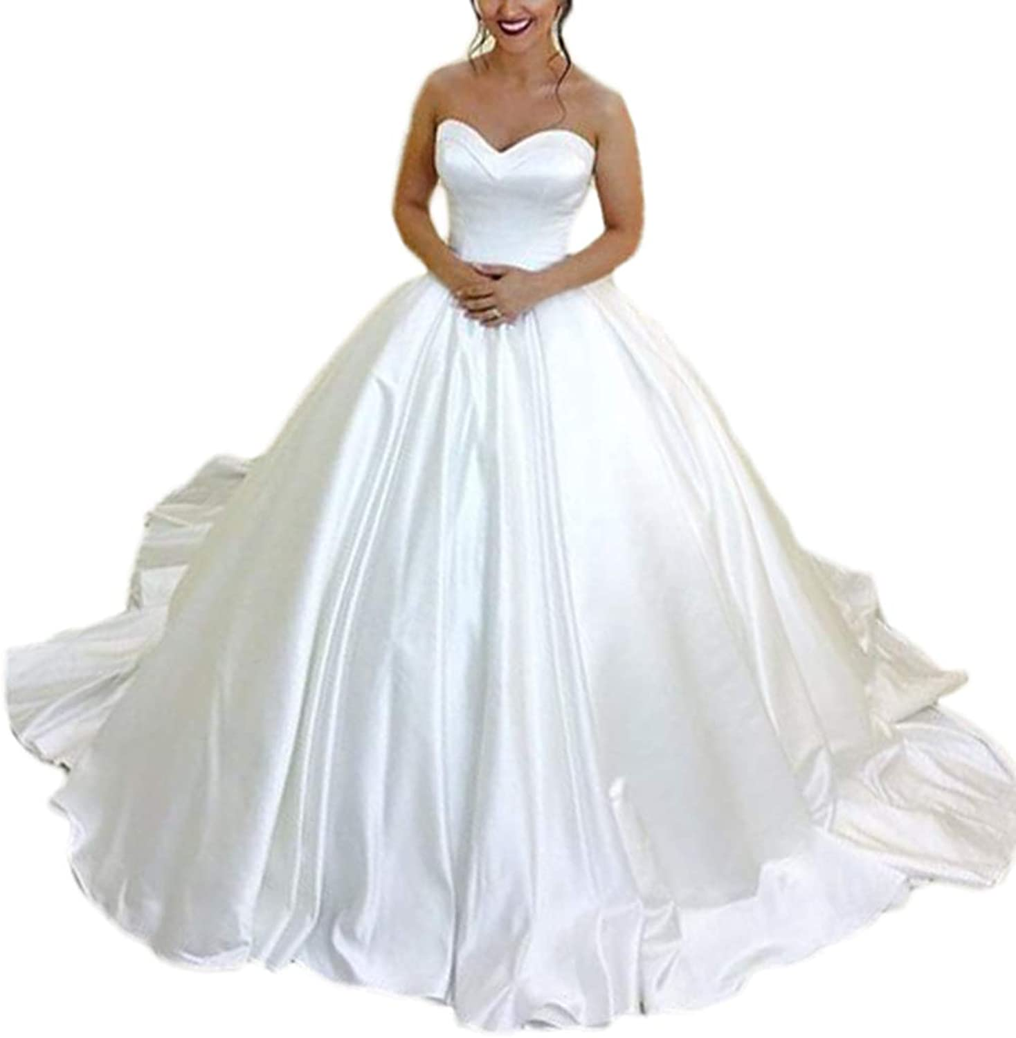 Alilith.Z Sexy Sweetheart Satin Wedding Dresses for Bride 2019 Ball Gown Bridal Wedding Gowns for Women with Long Train