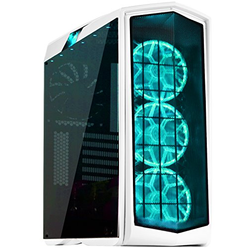 SilverStone Technology PM01W-RGB ATX Tower Case with RGB LED Fan Guards and Tempered Glass Glossy White