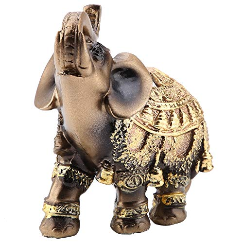 Mugast - Figura de elefante, diseño de Feng Shui de buena calidad, fabricada en resina de alta calidad, simboliza la suerte en China, salón exquisita, decoración de oro (L/M/S) (M)