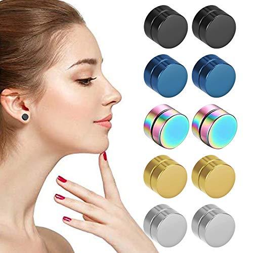 N/ A IGRMVIN 5 Paar Magnet Ohrstecker Edelstahl Magnet Ohrringe Runde Ohrringe Set Hypoallergener Magnetische Ohrring Clips Ohne Loch Magnetohrringe für Kinder Damen Herren Mädchen