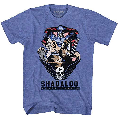 Street Fighter Video Martial Arts Arcade Game Shadaloo Org. Adult T-Shirt Tee Blue