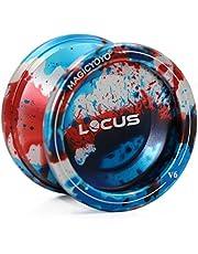 MAGICYOYO Pro Responsive Yo-yo para principiantes V6 LOCUS SPACE Matt Metal Yo Yo con Pouch Glove 5 Strings, Oro & azul&Plata