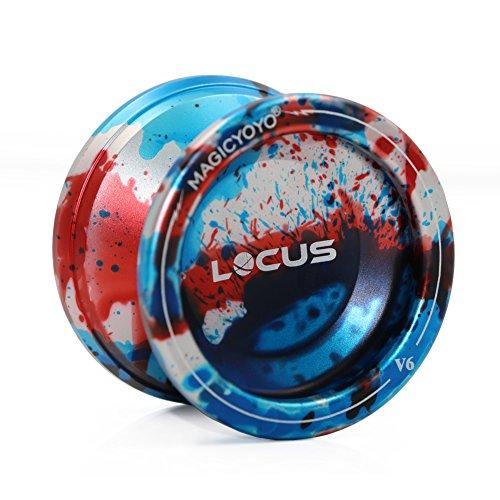 MAGICYOYO Professional Yoyos for Kids Yoyo Beginner Yo-yos V6 LOCUS Responsive Yo-yo Tria-Colors Splashes Matte Alloy Yo Yo (Red Blue Silver)