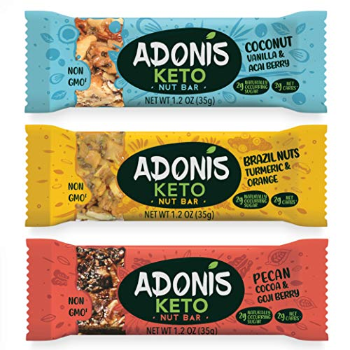 Adonis Keto Riegel | Gemischte Snack Box | 100% Natürliche Nuss Snacks, Low Carb, Vegan, Glutenfrei, Low Sugar, Paleo Bars - 5er Box