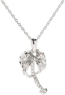 Sterling Silver Diamond Cut Palm Tree Pendant Necklace, 18