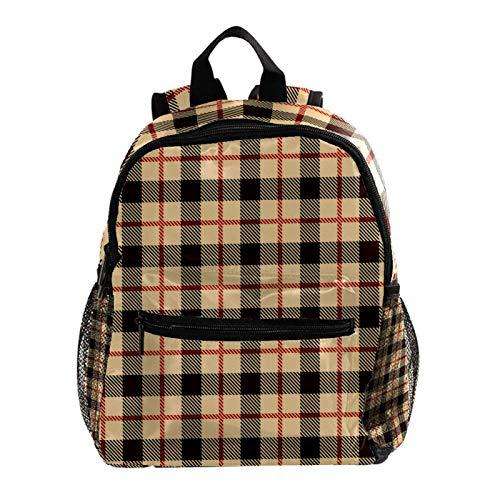 Backpack Multifunction Trekking Daypacks School Backpack Outdoor Sports Bookbag,Vintage Brown Plaid Grid Retro