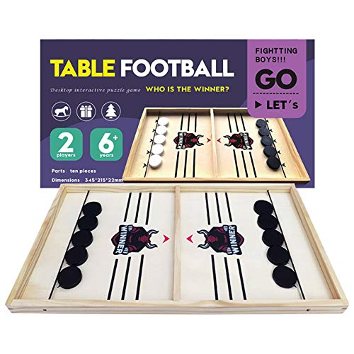 CABINAHOME Fast Sling Puck Game Desktop Battle 2 in 1 Ball air Hockey Game Super Winner Board Games Foosball Slingshot Table Game Wood Interactive Chess Toy for Kids Family (Bull)