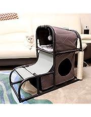 Goetland 4 in 1 Multi-Functional Cat Tree Condo Pet Furniture Jumbo Cat Tower House Bed Climber Peek Holes Scratching Post Dangling Toy