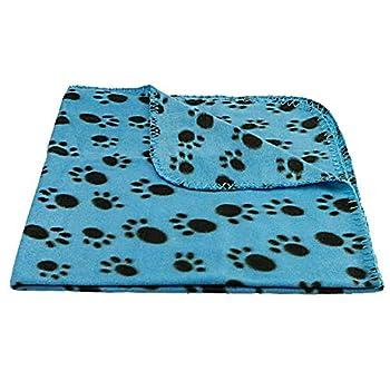JS One Pet Hiver Chaud Pattes Couverture Polaire pour Chat Chaton Chien & Chiot 100*70cm (L) Bleu