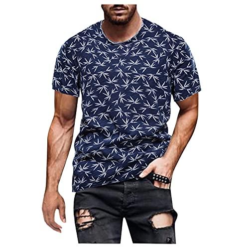 Camiseta Hombre Verano Manga Corta con Estampado Suelto,T-Shirt de Retro Hombres Casual Camisetas Camisas Manga Cortos de Cuello Redondo Shirts Básica tee Tops Casual
