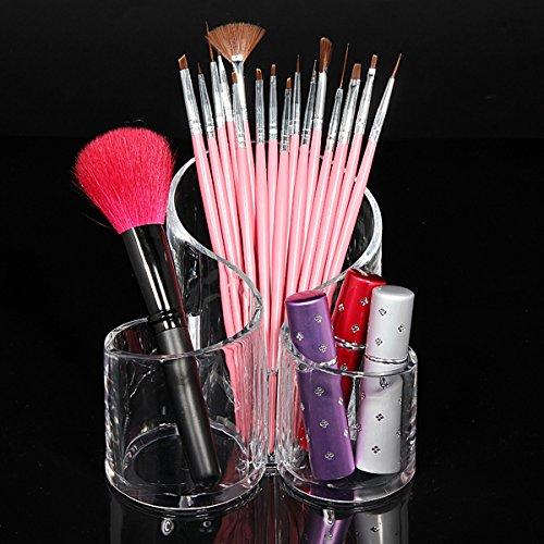 Bluelover Acrylique Transparent Cylindrique Cosmétique Récipient Maquillage Rangement