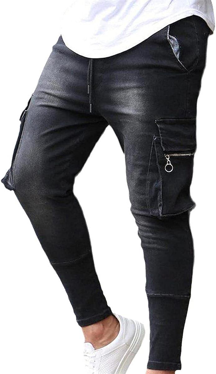 CACLSL Winter Men's Warm Slim Jeans Business Fashion Thicken Denim Trousers Stretch Multi-Pocket Zipper