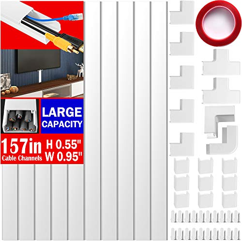 Cable Concealer on Wall Raceway -157 inches Paintable Cord Cover for Wall Mounted TVs - Cable Management Cord Hider Including Connectors & Adhesive Strips Connected to Cable Raceway