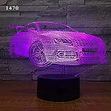 YYHMKBLluz de noche 3D para coche deportivo de lujo, luces decorativas de escritorio de siete colores, luces visuales con control remoto táctil, vacaciones, cumpleaños, regalos perfectos para niños