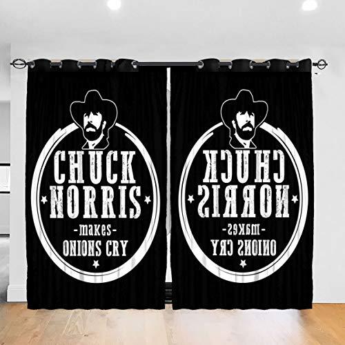 HONGYANW Verdunkelungsvorhänge Chuck Norris Macht Zwiebeln Weine Öse Thermoisoliert Raum Verdunkelung Drape für Schlafzimmer Wohnzimmer 132,2 x 182,9 cm