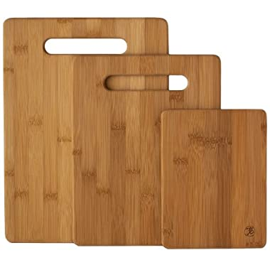 Totally Bamboo Original Bamboo Cutting & Serving Board 3 Piece Set – Designed in USA, Premium craftsmanship, ♻ 100% Natural Wood + included warranty.