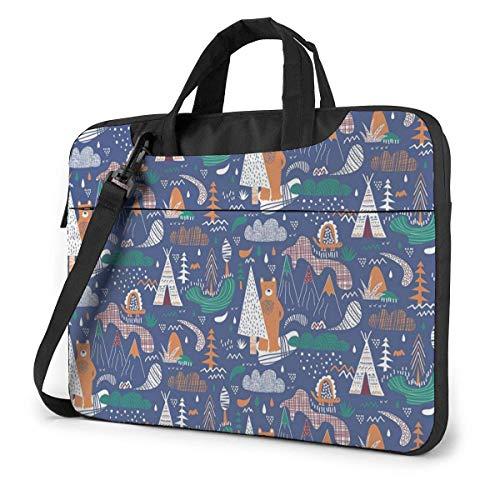 Laptop Shoulder Bag Carrying Laptop Case, Camp Bear Cartoon Computer Sleeve Cover, Business Briefcase Protective Bag