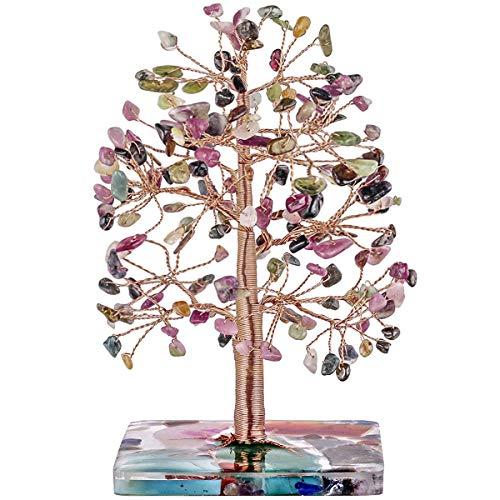 Nupuyai Handgemachter 7 Chakra Edelstein Lebensbaum Deko Glücksbringer Figur Für Haus, Geldbaum Feng Shui Dekoration Wohnzimmer