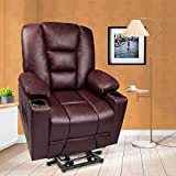 Maxxprime PU Faux Leather Wheel Free Moving Electric Power Lift Recliner Chair Sofa with Massage and Heat for Elderly, withRemoteControls, 2 Side Pockets, Cup Holders, Dual USB Ports (Saddle)