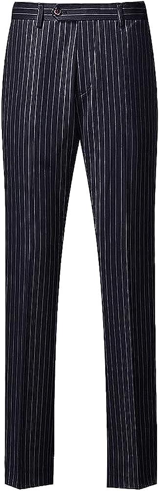 Men's Flat Front Regular Fit Black with White Stripes Suit Pant