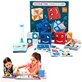 SANHAN Puzzle Building Cubes,Face-Changing Building Blocks for Children,Wooden Expressions Matching Block Puzzle Educational Games Toy(Green Box)