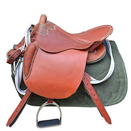Paardenzadelset, paardenzadel paard van puur leer kort zadel stalen skelet goede kwaliteit met een volledige set lederen accessoires
