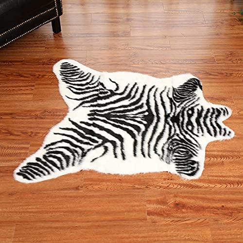 Tapis imprimé zèbre en fausse fourrure - 1 x 0,9 m - Tapis imitation peau de vache - Tapis imprimé animal pour la maison, le bureau, le salon, la chambre à coucher, noir et blanc