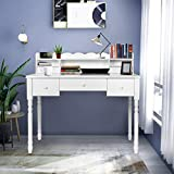 White Writing Desk with Detachable Hutch& 5 Drawers,Modern...