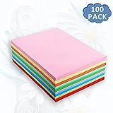 Buntpapier Farbigen A4 Kopierpapier Papier 100, bunte Blätter in 80g/m², 10 Verschiedene Farben für DIY Kunst Handwerk