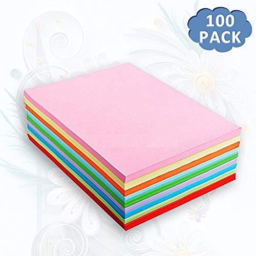 100 Blatt buntes DIN-A4 Ton-Papier, Set aus 10 Farben, bunte Blätter in 80g/m², für DIY Kunst Handwerk 、 Drucker、Kopierpapier farbig