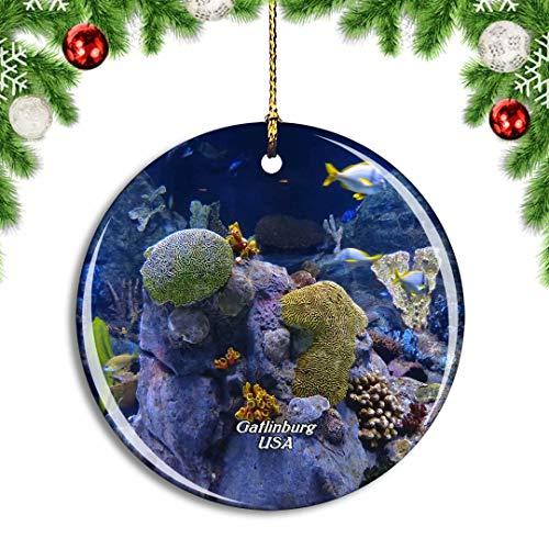 Weekino USA Amerika Gatlinburg Ripleys Aquarium der Smokies Weihnachtsdekoration Christbaumkugel Hängender Weihnachtsbaum Anhänger Dekor City Travel Souvenir Collection Porzellan 2,85 Zoll
