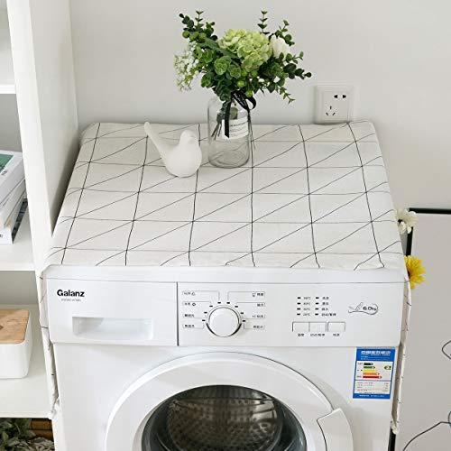 Hotgirlhot Kühlschrank Staubschutz Roller Waschmaschine Schachbrett Muster Für Roller Waschmaschine Einzelne Tür Kühlschrank Tischdecke(55 * 130 cm / 21.6 * 51 Zoll) (Weiß)