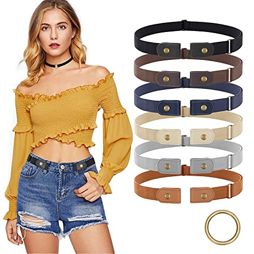 6 Pieces No Buckle Stretch Belt for Women Men, Buckless Belt Comfortable Invisible Elastic Belt for Jeans Pants Dresses, No Bulge No Hassle , Fit Waist Size 22-35in