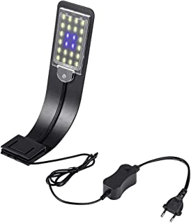 LEDGLE Luz LED Acuario, Lámpara de Acuario, Poderosa Iluminación LED de Clip para Acuarios Plantados Lámpara LED para Acuarios de 30-60 cm, 10W, Impermeable IPX7, Luz Blanca y Azul