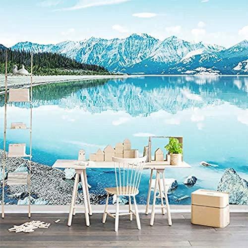 XHXI Foto 3D papel tapiz Mural europeo lago Iceberg bosque papel de pared para sala de estar sofá TV Fondo dor Pared Pintado Papel tapiz Decoración dormitorio Fotomural sala sofá mural-300cm×210cm
