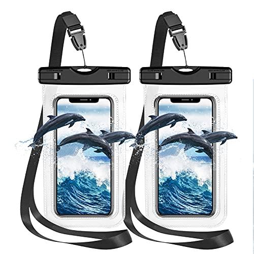Pochette Etanche Smartphone Housse Étanche Smartphone[ Lot de 2],Certifiée par IPX8 Pochette Téléphone Étanche pour Téléphone iPhone 12 Pro Max 11 Pro XS Max XR 7 8, Galaxy S21 S20,Jusqu à 7.0 Pouces