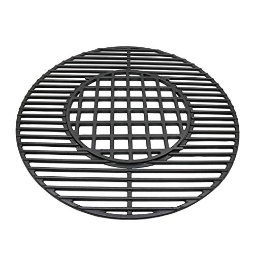 "Uniflasy 8835 22.5 Inch Hinged Cooking Grate for Weber 22.5 Inch One-Touch Silver, Bar-B-Kettle, Master-Touch Performer and Other 22.5"" Charcoal Grill, 21.5 Inch Diameter Gourmet BBQ System Grate"
