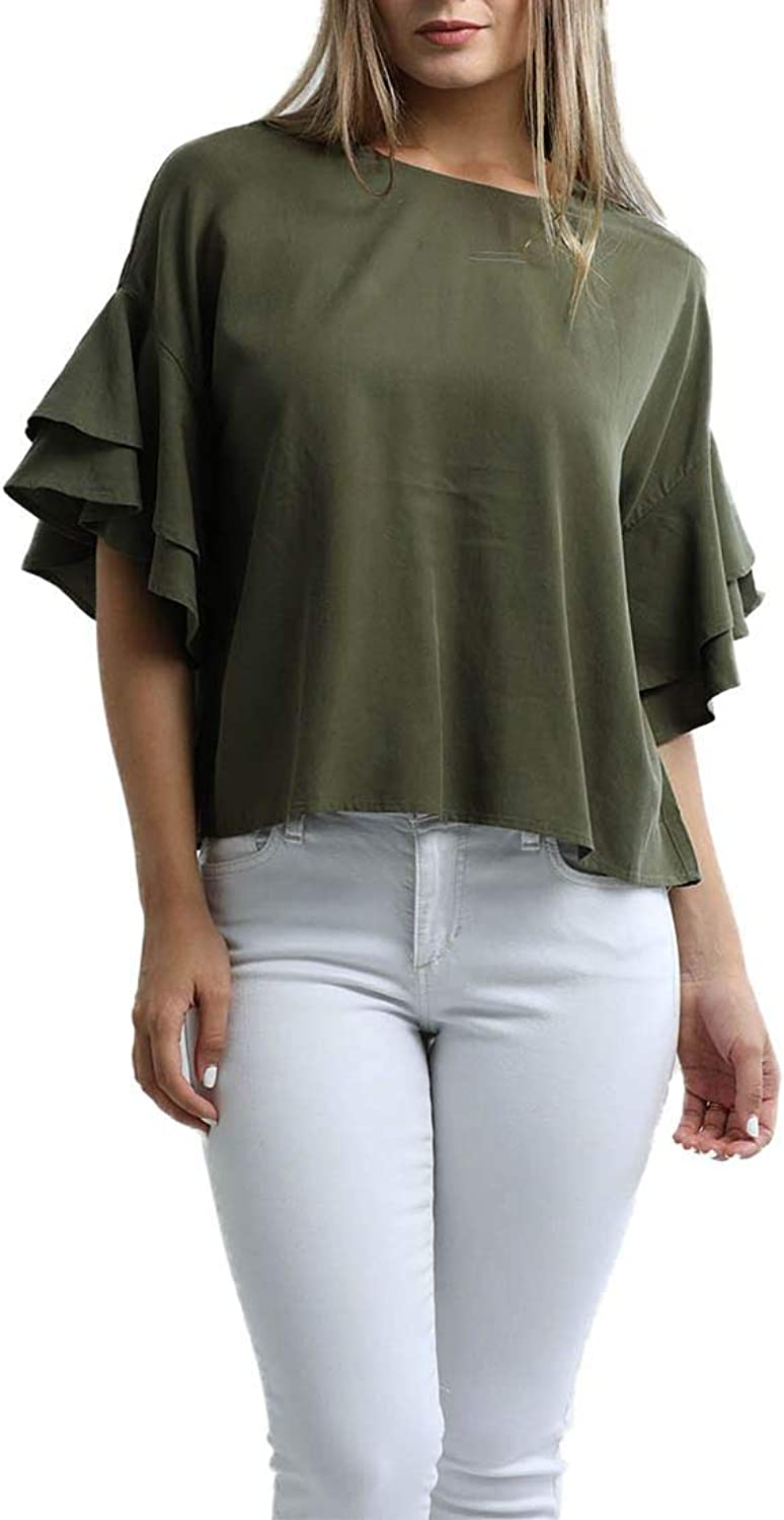 Central Park West  Women's Boulder Tencel Tee with Ruffle Sleeves  Army