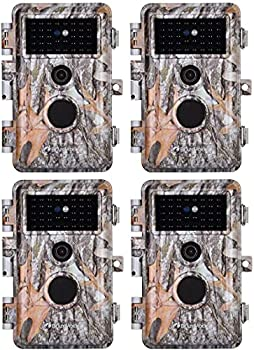4-Pack Game & Deer Trail Cameras 24MP 2304x1296P MP4 Video for Hunting Wildlife and Home Security No Glow Night Vision Time Lapse Motion Activated Waterproof & Password Protected Photo & Video Model