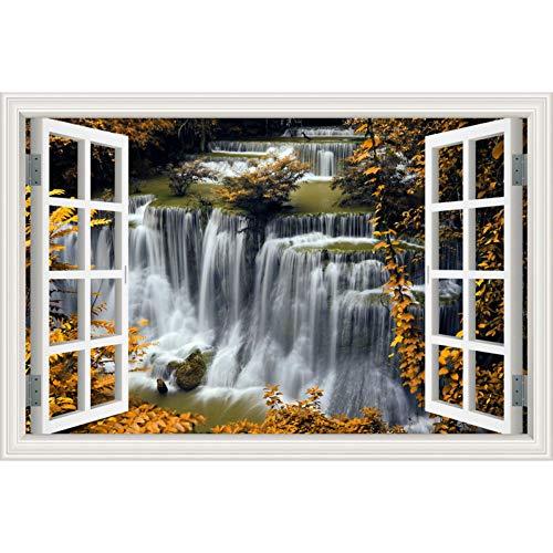 HYYDHD 3D-muursticker, waterval, raamaanzicht behang, natuur, landschap, stickers voor woonkamer, wooncultuur 32x48inch 80x120cm 15