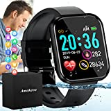 Amokeoo Smart Watch,Fitness Watch Activity Tracker with Heart Rate Blood Pressure Monitor IP67 Waterproof Bluetooth Smartwatch Touch Screen Sports Watch for Android iOS Phones Men Women New Black