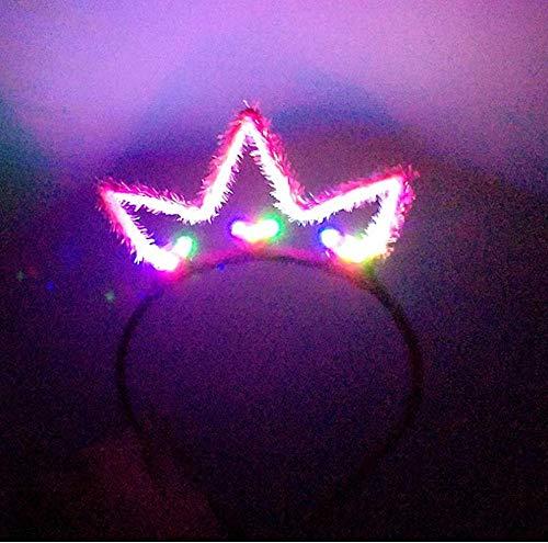 Yhhzw 1Pcs Kids Adults Led Flashing Glowing Bunny Ears Headband Light Up Hairband Birthday Glow Party Halloween Christmas Headwear Size 13×20Cm