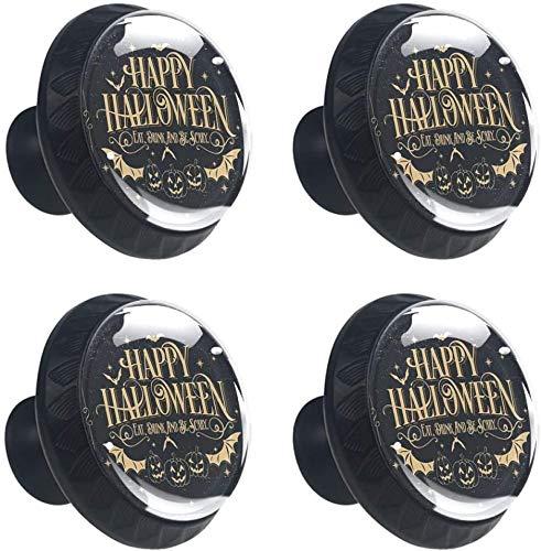 Feliz fiesta de calabaza de halloween 4PCS Pomo de armario, tirador para cajón, Pomos y Tiradores de Muebles,Pomos, pomos, para Puertas, Armarios de Cocina,Cajones - un solo agujero