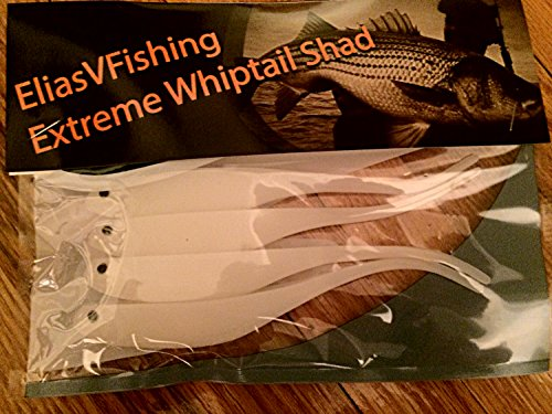 "Extreme Whiptail Shad Soft Fishing Lure 6"" Striped Bass, Bluefish, Flounder, Sea Bass (2 Packs of Four)"