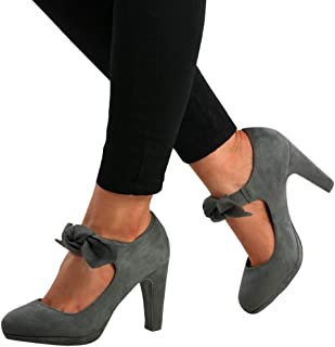 Womens Mary Jane Pumps Chunky High Heels Bowtie Ankle Strap Closed Toe Party Wedding Shoes