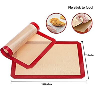 TIMEDEER Baking Mat- Reusable (2 pack) Non-stick Fiberglass and Food Grade Heat Resistant Silicone Baking Mat Oven Sheet Pans Liner, BPA Free(Large 11.8 x 15.8 inch)