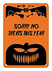 Image: Reflective Aluminum Halloween 'Sorry No Treats This Year' Sign