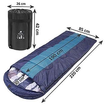 CampFeuer Sac de Couchage XXL   Navy/Bleu   220 x 85 cm   Adulte   Sac de Couchage pour Le Camping et Les activités de Plein air