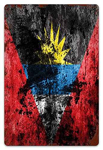MIFSOIAVV Retro Blechschild Flagge von Antigua & Barbuda auf schmutzigem Papier Geschenk-Idee für Nostalgie-Fans,aus Metall,Vintage-Dekoration,20x30cm
