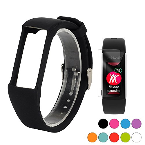 TUSITA Band for Polar A360 A370 - Silicone Replacement Strap Bracelet Wristband with Screen Protector - Smart Watch Accessories(Black)